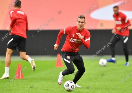 Polish national soccer team player Arkadiusz Milik attends his team's training session in Amsterdam, Netherlands, 03 September 2020. Poland will face the Netherlands in their UEFA Nations League soccer match on 04 September 2020.