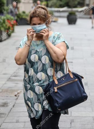 Ruth Jones seen wearing a facemask while departing from the Global Radio studios in London.
