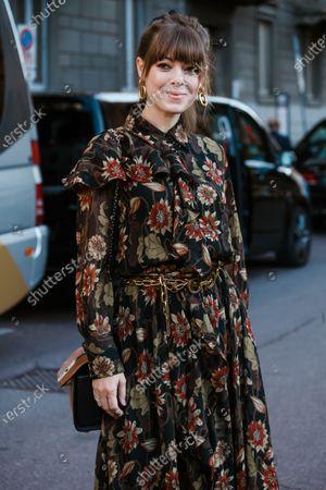 Jenny Cipoletti is seen wearing dress with print, seen outside Salvatore Ferragamo show during Milan Fashion Week Womenswear Spring Summer 2020