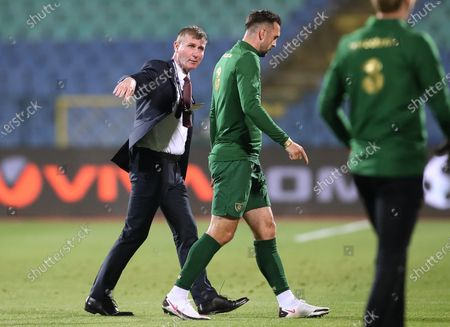 Bulgaria vs Republic of Ireland. Republic of Ireland manager Stephen Kenny with Shane Duffy ahead of the game