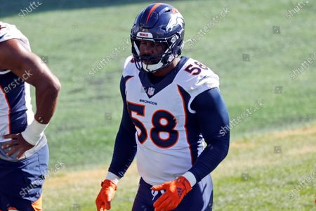 Stock Image of Denver Broncos linebacker Von Miller takes part in drills during NFL football practice, in Englewood, Colo