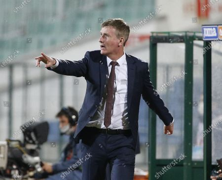 Stock Photo of Ireland's coach Stephen Kenny gestures, during the match Shane Duffy during the UEFA Nations League soccer match between Bulgaria and Ireland at Vassil Levski national stadium, in Sofia, Bulgaria