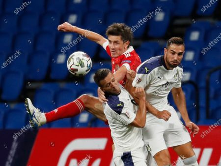 Yuri Zhirkov (C) of Russia in action against Nemanja Maksimovic (L) and Nikola Maksimovic (R)of Serbia during the UEFA Nations League Group stage match between Russian and Serbia in Moscow, Russia, 03 September 2020.