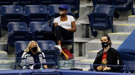 Jill Smoller, Serena Williams agent (bottom, L), her sister Venus Williams (top, C) and her husband internet entrepreneur Alexis Ohanian (bottom, R ) watch her play Margarita Gasparyan of Russia on the fourth day of the US Open Tennis Championships the USTA National Tennis Center in Flushing Meadows, New York, USA, 03 Septemeber 2020. Due to the coronavirus pandemic, the US Open is being played without fans and runs from 31 August through 13 September.