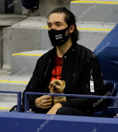 Internet entrepreneur Alexis Ohanian wears a 'Vote Nov 3' PPE mask while watching his wife Serena Williams of the USA play Margarita Gasparyan of Russia during their match on the fourth day of the US Open Tennis Championships the USTA National Tennis Center in Flushing Meadows, New York, USA, 03 Septemeber 2020. Due to the coronavirus pandemic, the US Open is being played without fans and runs from 31 August through 13 September.