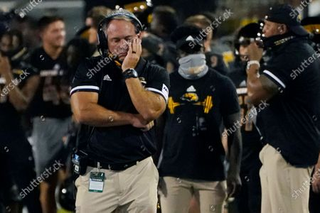Stock Picture of Southern Mississippi coach Jay Hopson reacts following a South Alabama touchdown during the first half of an NCAA college football game in Hattiesburg, Miss