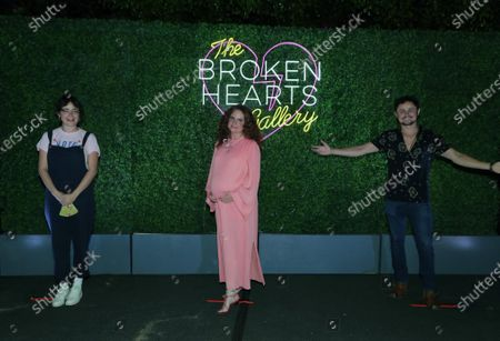 Molly Gordon, Megan Ferguson and Arturo Castro seen at The Broken Hearts Gallery x Sony Pictures Drive-In Experience at the Sony Pictures.