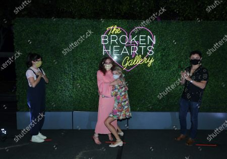 Molly Gordon, Writer/Director Natalie Krinsky, Megan Ferguson and Arturo Castro seen at The Broken Hearts Gallery x Sony Pictures Drive-In Experience at the Sony Pictures.