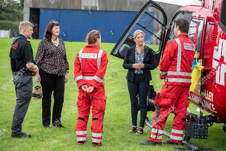 Mcc0096642. Daily Telegraph DT News Royal Rota Countess Wessex speaks with Paramedic Hannah Hirst and Dr James Dearman Her Royal Highness Sophie Countess of Wessex, Patron, visiting Thames Valley Air Ambulance (TVAA) at White Waltham Airfield, Maidenhead, to help launch their 21st anniversary celebrations ahead of National Air Ambulance Week