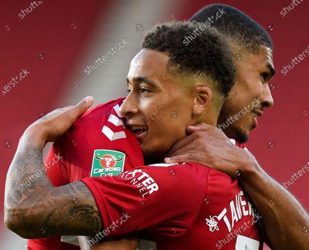 Marcus Tavernier of Middlesbrough celebrates scoring the winning goal 4-2 with double scorer Ashley Fletcher of Middlesbrough