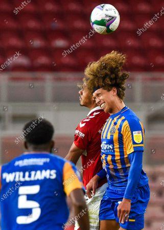 Marlon Fossey of Shrewsbury Town and Ashley Fletcher of Middlesbrough