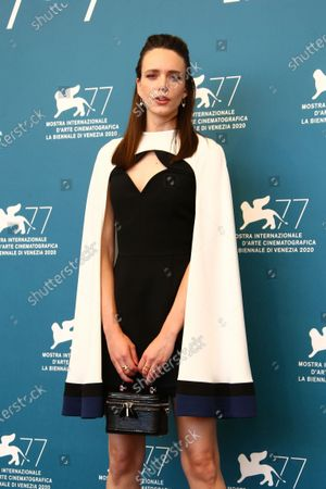 Stacy Martin poses for photographers at the photo call for the film 'Amants (Lovers)' during the 77th edition of the Venice Film Festival in Venice, Italy