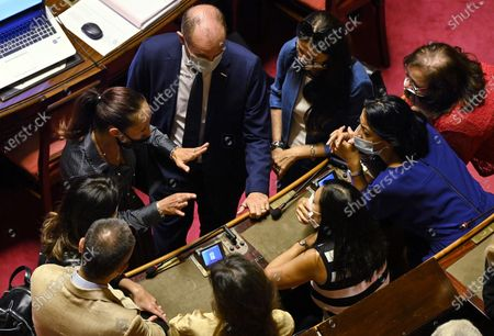 Senator of Movimento 5 Stelle Paola Taverna (L) talking with some colleagues during the discussion at the Senate on digital simplification and innovation decree, Rome, Italy, 04 September 2020.