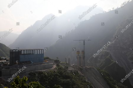 A general view of an under construction first cable-stayed bridge to connect Udampur- Srinagar- Baramulla- Rail link project (USBRL) of Indian Railways in Reasi district of Jammu and Kashmir,  some 80 KM from Jammu, India, 04 September 2020. Anji Bridge has a single main pylon of height 193m from the top of foundation, standing at a height of 331 metres above the river bed. The total length of Bridge is 725.50m consisting of Main Bridge having the length of 473.25 metres and  Anji bridge is being constructed between Reasi district of Union territory of Jammu and Kashmir under the most challenging Udampur- srinagar- Baramulla- Rail link project (USBRL) Project of Indian Railways.