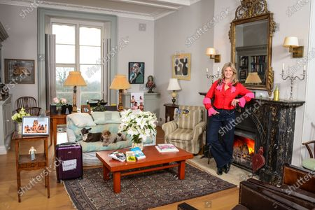 Stock Photo of Susannah Constantine 'My Haven' Sitting room of her Sussex Home 5.12.2019 NIBBY award, Finger puppet, Painting of my dog, Signet ring,Family Photo, Daughters running medals, Painting of husband Sten Bertelsen Books- by Elton John, Ernest Hemingway & Susannah's own, Photo with Trinny (nude), Case (present from Trinny) with 'Strickley Come Dancing' sticker, Her Dogs Glasses