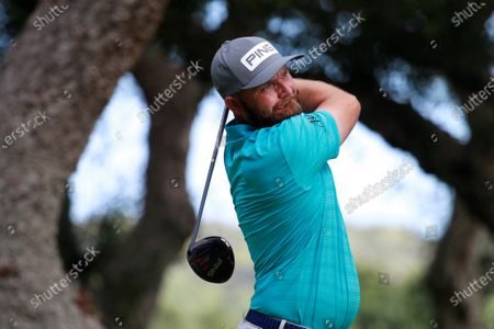 British golfer Andy Sullivan hits the ball from the tee of the 7th hole during the second day of Andalusias' Pro-Am Golf Masters tournament at Valderrama golf course in Sotogrande town, Cadiz province, Andalusia region, southern Spain, 04 September 2020. The competition ends on 06 September 2020.