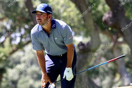 Spanish golfer Pablo Larrazabal reacts during the second round of Andalusias' Pro-Am Golf Masters tournament at Valderrama golf course in Sotogrande, Andalusia region, southern Spain, 04 September 2020.