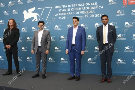 Director of photography Michal Sobocinski from left, actor Aditya Modak, director Chaitanya Tamhane and producer Vivek Gomber pose for photographers at the photo call for the film 'The Disciple' during the 77th edition of the Venice Film Festival in Venice, Italy