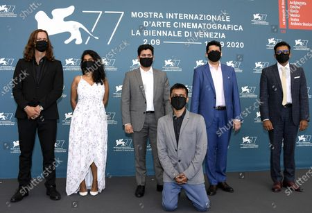 Chaitanya Tamhane (2-R) with all cast attend a photocall for 'The Disciple' at the 77th annual Venice International Film Festival, in Venice, Italy, 04 September 2020. The event is the first major in-person film fest to be held in the wake of the Covid-19 coronavirus pandemic. Attendees have to follow strict safety measures like mandatory face masks indoors, temperature scanners, and socially distanced screenings to reduce the risk of infection. The public is barred from the red carpet, and big stars are expected to be largely absent this year. The 77th edition of the festival runs from 02 to 12 September 2020.