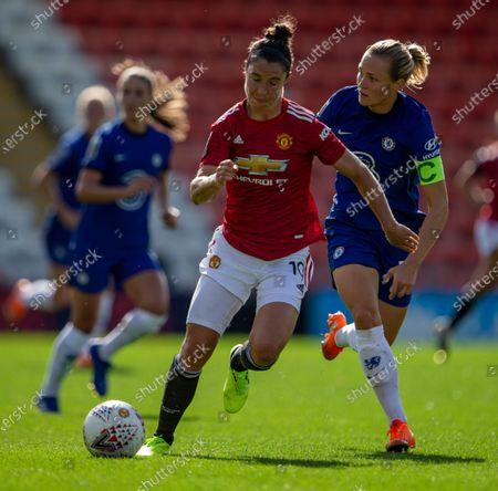 Joanna Andersson of Chelsea Women puts Jane Ross of Manchester United Women under pressure; Leigh Sports Village, Lancashire, England; Women's English Super League, Manchester United Women versus Chelsea Women.