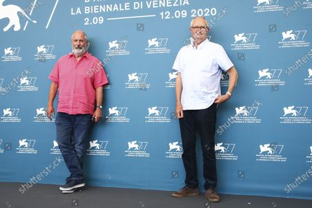 Actor Jim Broadbent, right, and director Roger Michell pose for photographers at the photo call for the film 'The Duke' during the 77th edition of the Venice Film Festival in Venice, Italy