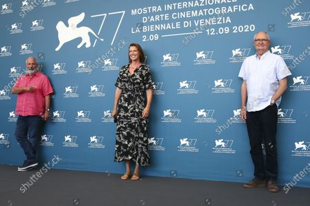 Actor Jim Broadbent, from right, producer Nicky Bentham and director Roger Michell pose for photographers at the photo call for the film 'The Duke' during the 77th edition of the Venice Film Festival in Venice, Italy