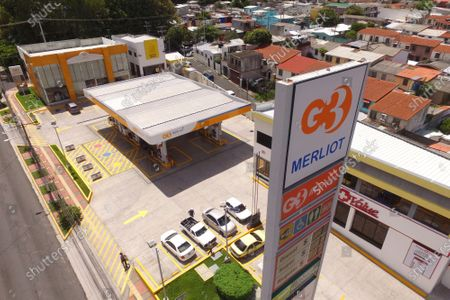 Merlot gas station that was once part of the ALBA Petroleos chain in Ciudad Merliot, El Salvador