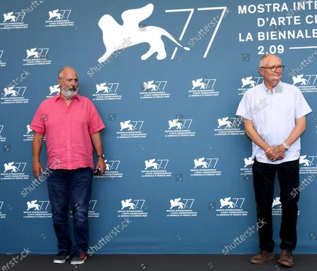 Roger Michell (L) and British actor Jim Broadbent (R) pose at a photocall for 'The Duke' during the 77th annual Venice International Film Festival, in Venice, Italy, 04 September 2020.The event is the first major in-person film fest to be held in the wake of the Covid-19 coronavirus pandemic. Attendees have to follow strict safety measures like mandatory face masks indoors, temperature scanners, and socially distanced screenings to reduce the risk of infection. The public is barred from the red carpet, and big stars are expected to be largely absent this year. The 77th edition of the festival runs from 02 to 12 September 2020.