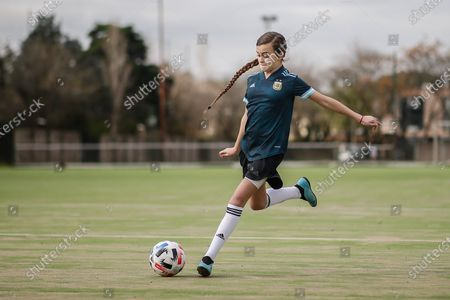 Argentina's Zoe Puente trains during an interview in Buenos Aires, Argentina, 03 September 2020 (issued 04 September 2020). At the age of just ten years, Zoe Puente, a young soccer player who is a fan of US player Alexandra Morgan of the Orlando Pride, and who herself plays in Platense and at the Roma Training Center, revolutionized Argentina with her videos of goals and dribbles and by devising a solidarity campaign with which she gathered around 500 boots and slippers so that 'everyone can play.'