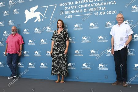 Roger Michell, Nicky Bentham and Jim Broadbent pose for photographers at the photo call for the film 'The Duke' during the 77th edition of the Venice Film Festival in Venice, Italy