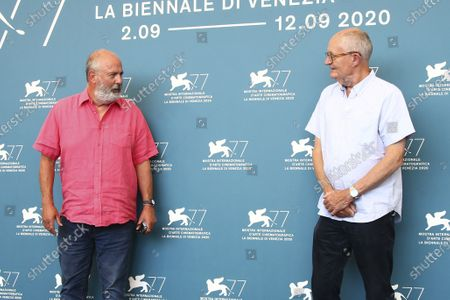 Roger Michell and Jim Broadbent pose for photographers at the photo call for the film 'The Duke' during the 77th edition of the Venice Film Festival in Venice, Italy