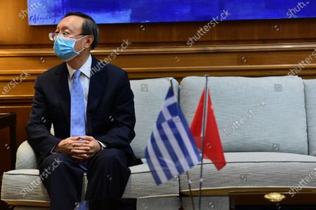 Yang Jiechi, Member of the Political Office and Director of the Foreign Affairs Committee of the Central Committee of the Communist Party of China, during the meeting with Greek Prime Minister Kyriakos Mitsotakis.