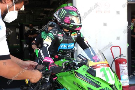 Stock Photo of Spanish rider Ana Carrasco (Kawasaki) prepares to participate in the second Supersport300 free training session held at Motorland racetrack in Alcaniz, Spain, 04 September 2020. Two races of the WSBK Superbike Aragon-Alcaniz will be held on 05 and 06 September in Alcaniz.