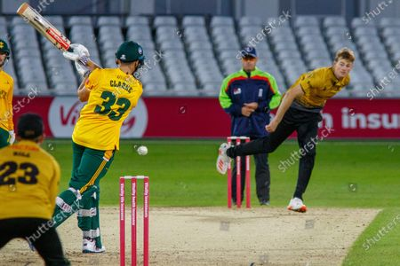WICKET - Joe Clarke is ct by Lewis Hill off Tom Taylor during the Vitality T20 Blast North Group match between Notts Outlaws and Leicestershire Foxes at Trent Bridge, Nottingham