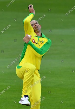 Australia's Ashton Agar bowls a delivery during the first Twenty20 cricket match between England and Australia, at the Ageas Bowl in Southampton, England
