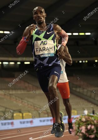 Great Britain's Mo Farah on his way to setting a world record during the One Hour Men at the Diamond League Memorial Van Damme athletics event at the King Baudouin stadium in Brussels on