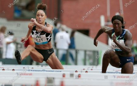 Stock Photo of Belgium's Anne Zagre, right, and Great Britain's Katarina Johnson-Thompson during the 100m Hurdles Women at the Diamond League Memorial Van Damme athletics event at the King Baudouin stadium in Brussels on