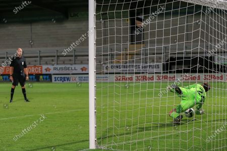 Ben Garrett saves a penalty during the EFL Cup match between Burton Albion and Accrington Stanley at the Pirelli Stadium, Burton upon Trent
