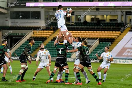 Exeter Chiefs lock Tom Price (19) wins a line out during the Gallagher Premiership Rugby match between Northampton Saints and Exeter Chiefs at Franklins Gardens, Northampton