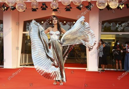 Cecilia Rodriguez poses for photographers upon arrival at the premiere of the film 'Padrenostro' during the 77th edition of the Venice Film Festival in Venice, Italy