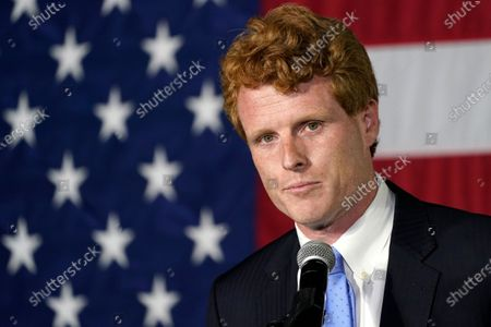 Rep. Joe Kennedy III addresses a gathering, in Watertown, Mass