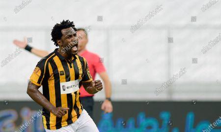 Al-Ittihad's player Wilfried Bony celebrates after scoring a goal during the Saudi Professional League soccer match between Al-Ittihad and Al-Nassr, 30 kilometers north of Jeddah, Saudi Arabia, 04 September 2020.