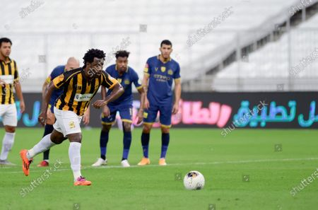 Al-Ittihad's player Wilfried Bony in action during the Saudi Professional League soccer match between Al-Ittihad and Al-Nassr, 30 kilometers north of Jeddah, Saudi Arabia, 04 September 2020.