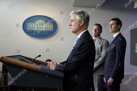 US National Security Advisor Robert O'Brien (L) speaks during a press briefing at the White House, in Washington, DC, USA, 04 September 2020 as Advisor to the President on Serbia-Kosovo Richard Grenell (C) and Senior Advisor to the President Jared Kushner (R) look on.