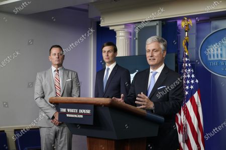 US National Security Advisor Robert O'Brien (R) speaks during a press briefing at the White House, in Washington, DC, USA, 04 September 2020 as Advisor to the President on Serbia-Kosovo Richard Grenell (L) and Senior Advisor to the President Jared Kushner (C) look on.