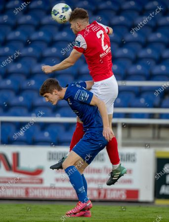 Waterford vs St. Patrick's Athletic. Waterford's John Martin with Rory Feely of St Pats