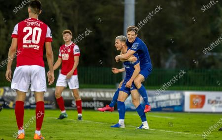 Waterford vs St. Patrick's Athletic. Waterford's John Martin celebrates with goal scorer Ali Coote