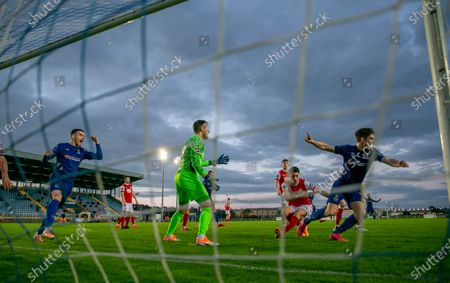 Waterford vs St. Patrick's Athletic. Waterford's John Martin celebrates scoring their second goal