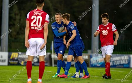 Waterford vs St. Patrick's Athletic. Waterford's Michael O'Connor and John Martin celebrate with goal scorer Ali Coote