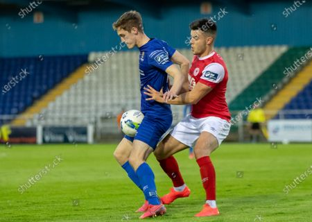 Waterford vs St. Patrick's Athletic. Waterford's John Martin with Dan Ward of St Pats